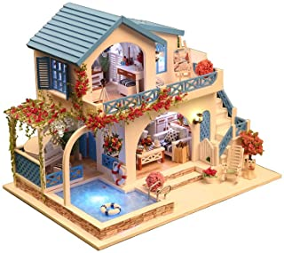 Rylai 3D Puzzles Miniature Dollhouse DIY Kit Light Blue and White Town Series Dolls Houses Accessories with Furniture LED Music Box