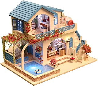 Rylai 3D Puzzles Miniature Dollhouse DIY Kit w/ Light - Blue and White Town Series Dolls Houses Accessories with Furniture LED Music Box Best Birthday Gift