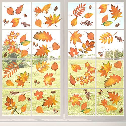 Whaline 163 Stück Thanksgiving Fensteraufkleber Herbstblätter Ahorn Aufkleber Herbstdekoration Party Ornamente
