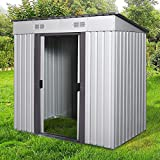 4' x 6' Large Outdoor Storage Backyard Garden Sturdy Shed Utility Tool Organizer w/Inclined Roof,...