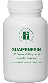 Guaifenesin Vegetable Capsules 750mg (100 Capsules) - Pure Guaifenesin No Fillers No Binders