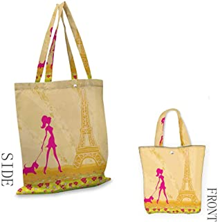 Teen Room DecorPattern shopping bagPink Silhouette of A Girl with the Dog Eiffel Tower in Paris DesignGreat for shopping W15.75 x L13.78 Inch Apricot Hot Pink