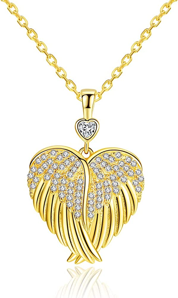 Gold Plated Angel Wing Love Heart Pendant Necklace Cubic Zirconia Collar Chain 18in Adjustable for Women