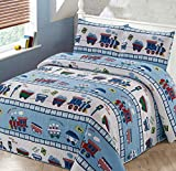 Better Home Style Red White and Blue Choo Choo Train Railroad Tracks Kids / Boys / Toddler Coverlet Bedspread Quilt Set with Pillowcases # Train (Twin)