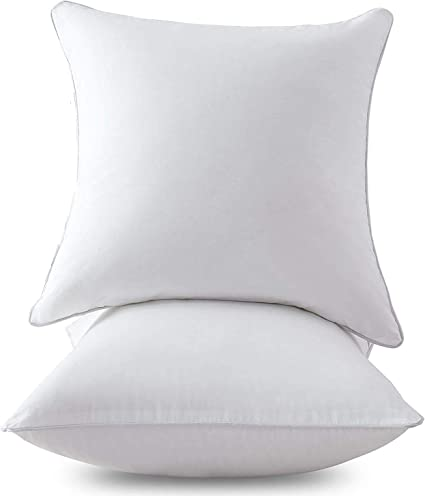 Homehold 2 Pack 20 X 20 Inch Square Pillow Inserts For Sofa Decorative Throw Pillow Inserts With 100 Cotton Cover Pure White Amazon Co Uk Kitchen Home