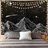 DSman Tapiz de Fractal para Dormitorio Sala de Estar Paño de Fondo de Arte Estrellado Blanco y Negro