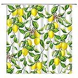 Zitronengelber Duschvorhang mit frischem Obst, komplett mit Blumen, Blättern, Pflanzen, helle Natur, Aquarell, rustikal, Heimdekoration, Stoffvorhang mit 12 Haken, 180 x 180 cm, Gelbgrün