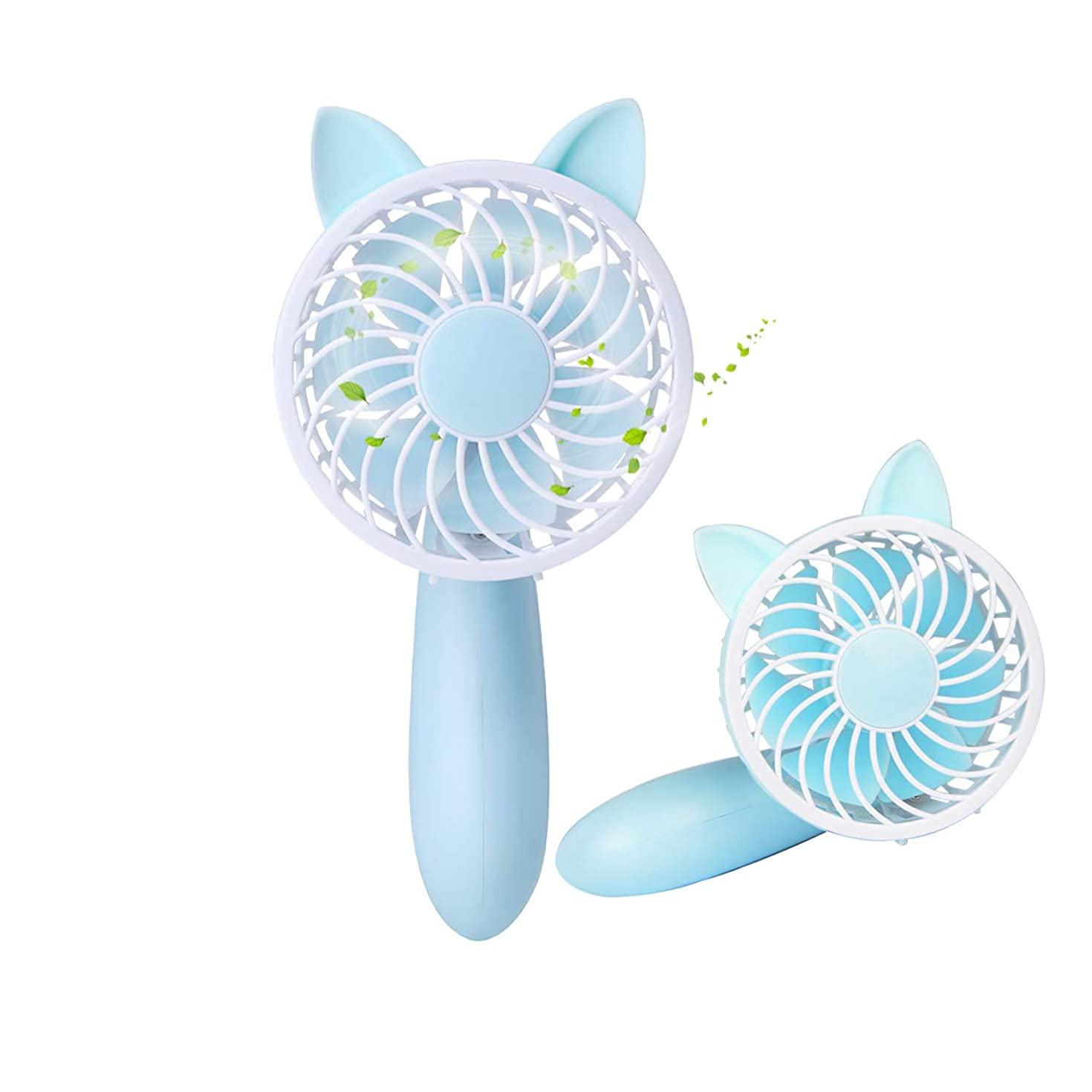 HoveBeaty Mini Handheld Fan, Portable Desk Table Personal Cooling Fan with USB Rechargeable Battery Operated Electric Fan for Office Room Outdoor Household Traveling (3 Speed, Blue)
