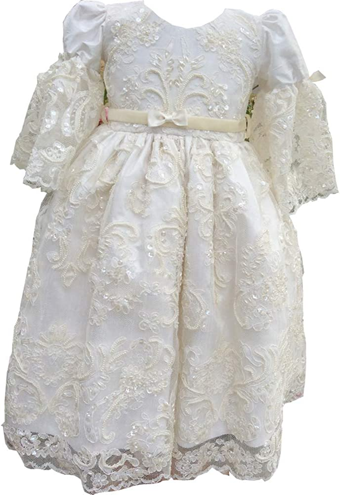 Michealboy Free shipping anywhere in the nation Luxury Applique Max 43% OFF Lace Christening Gown Girl Baby Long