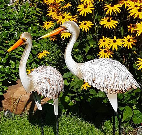 Fischreiher 2er Set Gartenfigur Metall Figur Bunt Tier Reiher Vogel Deko Teichfigur Gartendeko Garten Höhe 81cm