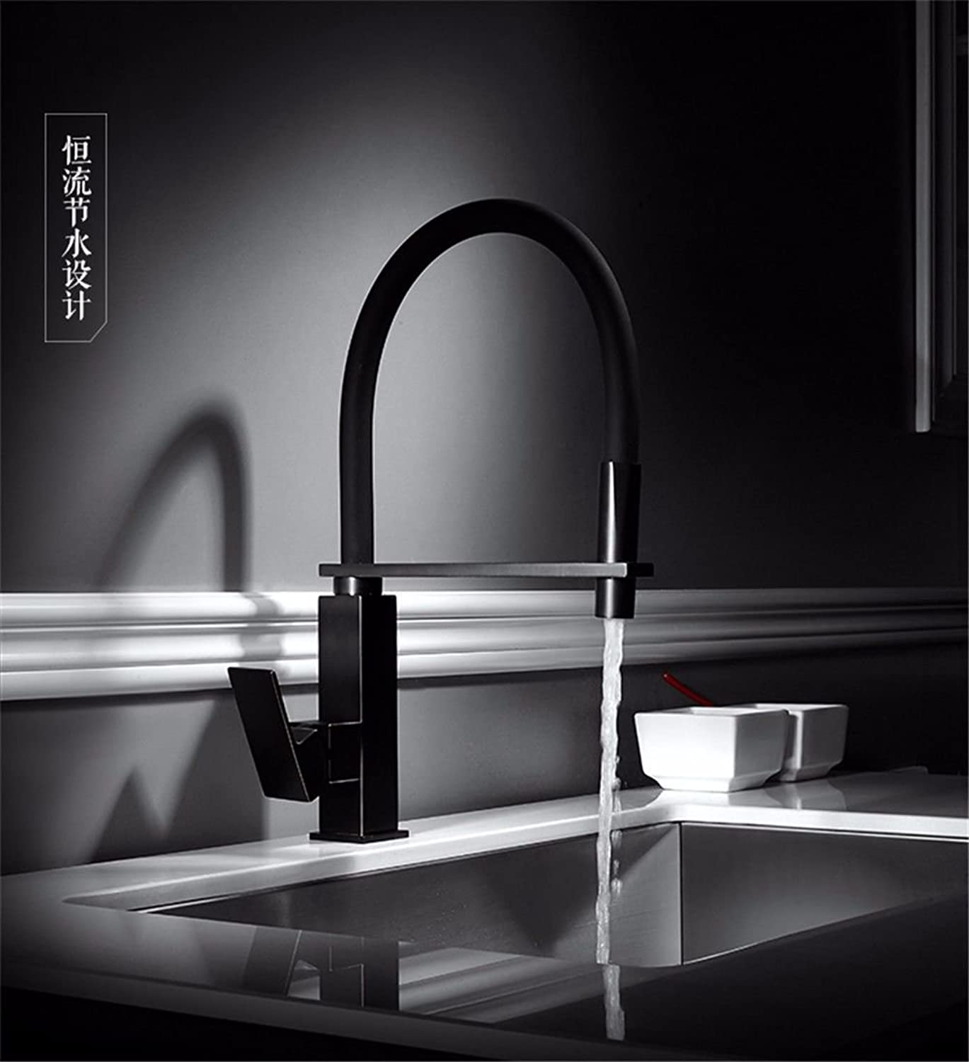 NewBorn Faucet Water Taps Hot And Cold Water All Copper Pull Hair Wash Basin Cold Water Tap Black Water Tap Washbasin Pull-Down Water Tap
