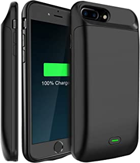 LoHi Battery Case, for iPhone 8 Plus / 7 Plus / 6s Plus / 6 Plus Portable & Protective 7200mAh Capacity Extended Smart Battery Charging Case, Support Headphones, 5.5'' Black