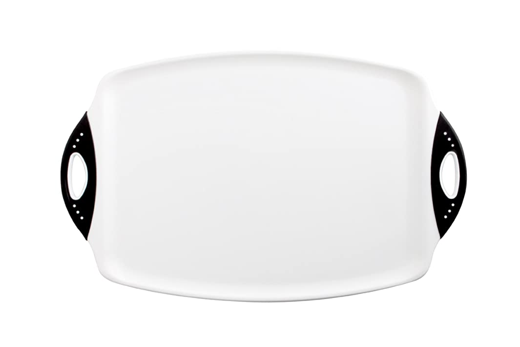 Dexas Chop & Serve Cutting Board, 12.5 by 20 inches, White with Black Handles