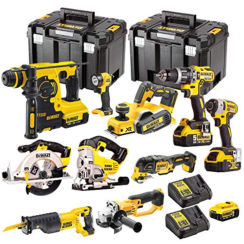 Dewalt 10 Pieces Power Tool 18V Li-ion Monster Kit with 4 x 5.0Ah Batteries...