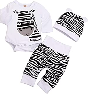 ❤Ywoow❤ Newborn Infant Baby Boys Girls Cartoon Zebra Print Tops Pants Hat Outfits Set