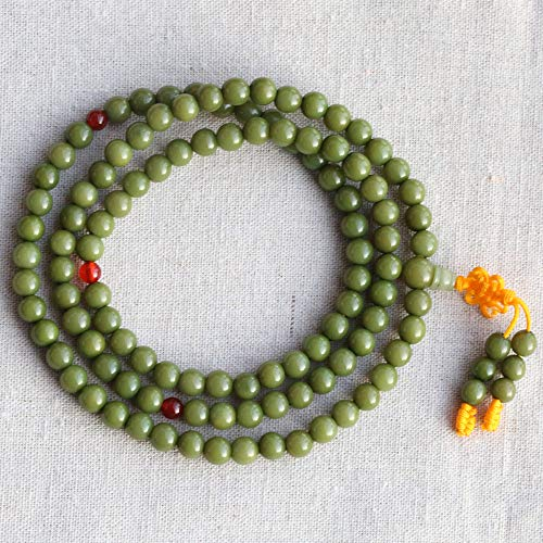 Minekkyes Cuentas Naturales Bodhi 108+1 Budista Cantando Cuentas de meditación Pulsera Semillas elásticas Verdes Hechas a Mano Rosario Mala Collar