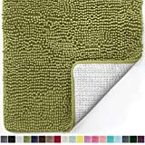 Gorilla Grip Original Luxury Chenille Bathroom Rug Mat, 30x20, Extra Soft and Absorbent Shaggy Rugs, Machine Wash Dry, Perfect Plush Carpet Mats for Tub, Shower, and Bath Room, Green