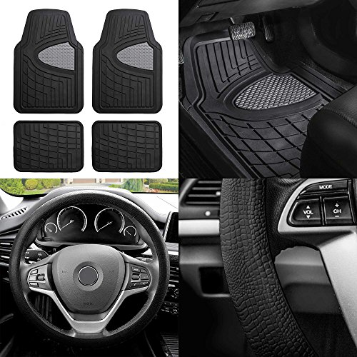 FH Group F11311 Premium Tall Channel Rubber Trimmable Floor Mats w. FH3001 Snake Pattern Silicone Steering Wheel Cover, Gray/Black- Universal Fit for Trucks, SUVs, and Vans