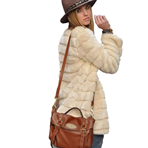 YiLianDa Chaqueta Corta de Piel Faux Abrigo con Manga Larga para Mujer de Invierno