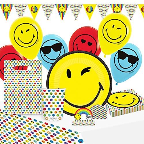 amscan 9907562 Smiley World - Set de Fiesta (8 Platos, 8 Vasos, 16 servilletas, Mantel, 8 Bolsas de Papel, 8 Invitaciones, Guirnalda, 6 Globos de látex)