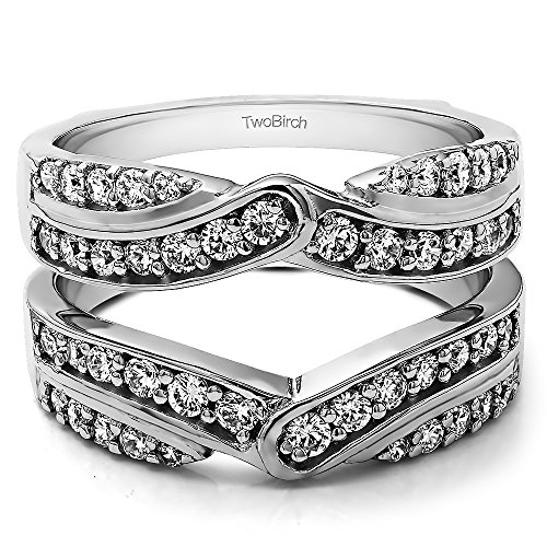 TwoBirch 3/4 Ct. Infinity Bypass Engagement Ring Guard in Sterling Silver with Cubic Zirconia (Size 7)