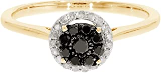 Clearance 0.31Ct Black Diamond With Natural Diamond Engagement Ring, 10k Yellow Gold, Size 8