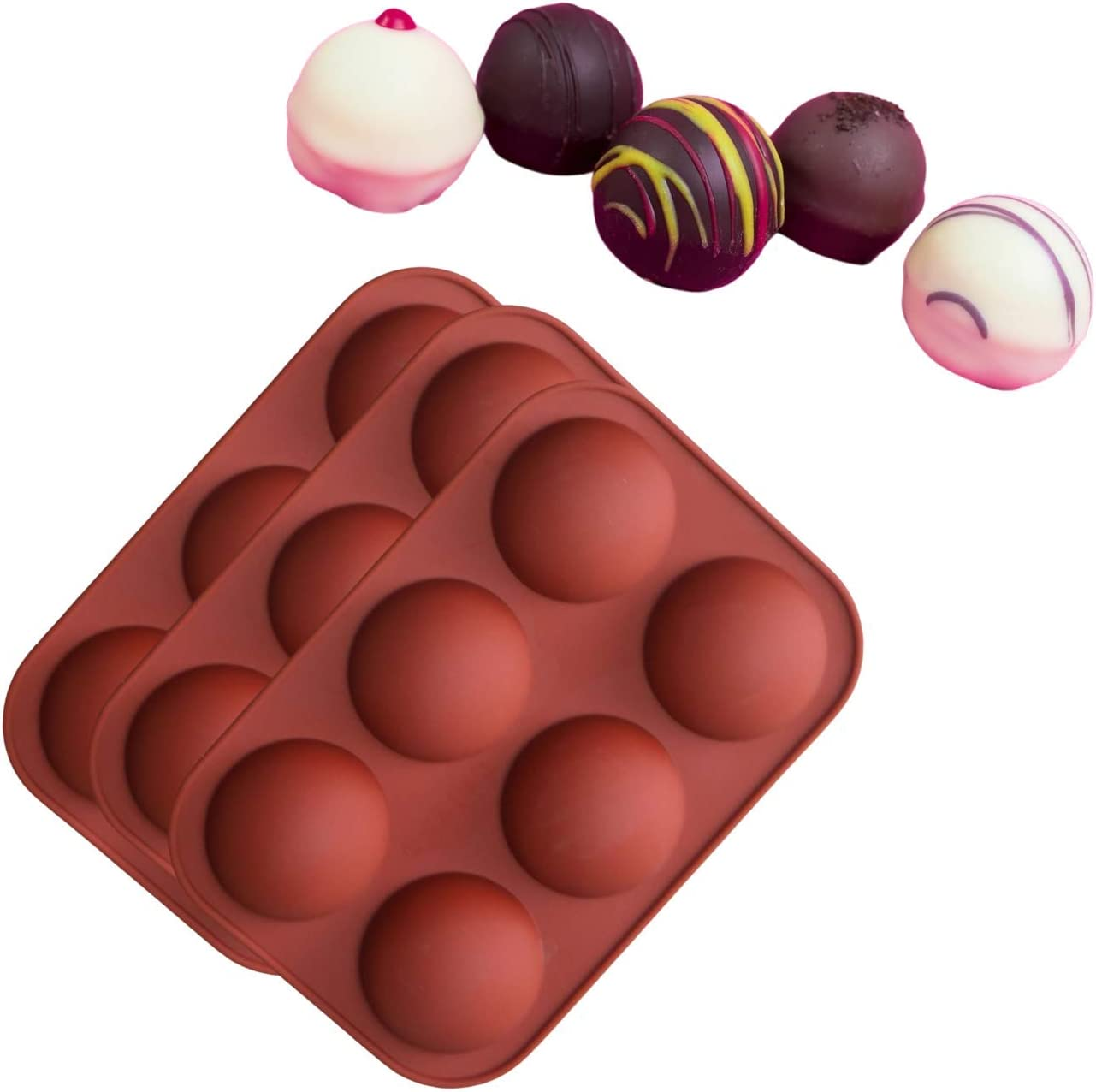 Cake,Chocolate Desserts 6-Cavity Semi Sphere Baking Silicone Molds for Chocolate Bombs with Marshmallows Ice Cream Bombes Dome Mousse Pudding 3Pcs-Brown-1.9Inch 3PCS Hot Chocolate Bomb Mold