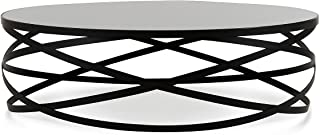Limari Home The Curcio Collection Modern Round Smoked Black Glass Top & Black Powder Coated Metal Base Contemporary Living Room Coffee Table, Black