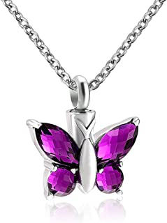 Cool Jewelry Stainless Steel Cremation Jewelry Flying Butterfly Keepsake Necklace for Ashes Memorial Jewelry