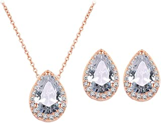 UDORA CZ Tearsdrop Earrings Necklace Jewelry Set for Bridal Bridesmaids