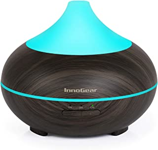 InnoGear 150ml Aromatherapy Essential Oil Diffuser Wood Grain Aroma Diffusers Cool Mist Humidifier with Timer Adjustable Mist 7 Color Changing Night Lights Waterless Auto Shut-off
