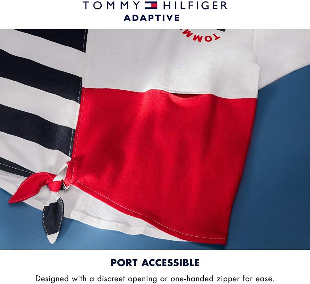Tommy Hilfiger Girls' Adaptive T Shirt with Port Access at Left Side