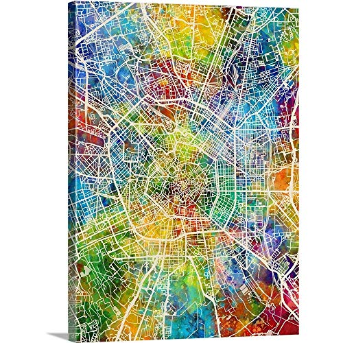 "Milan Italy City Map Canvas Wall Art Print, 36""x48""x1.25"""