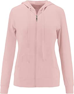 Womens Basic Lightweight Cotton Blend Long Sleeve Zip Up Hoodie Jacket