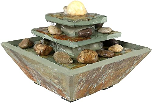 new arrival Sunnydaze popular Ascending Slate Tiered Tabletop Water Fountain with LED Light and Polished Stone Ball - Corded Electric - Home Decor Accent for Office, Bedroom or Living Room - online sale 8 Inch outlet online sale