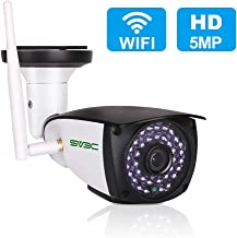 5MP Outdoor Security Camera, SV3C WiFi Wireless 5 Megapixels HD Night Vision Surveillance Cameras, 2-Way Audio IP Camera, Motion Detection CCTV, Weatherproof Outside Camera Support Max 128GB SD Card
