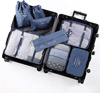 Packing Cubes for Suitcase 8 PCS Travel Luggage Organiser Set Durable Travel Essentials Bag Clothes Shoes Cosmetics Toiletries Cable Storage Bags QDDSP (Color : E)