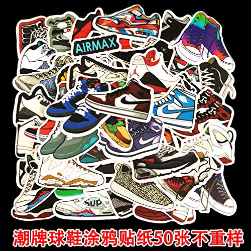 Niet-herhaalde Tide Merk Sneakers Koffer Trolley Case Laptop Skateboard Gitaar Mobiele Telefoon Doodle Stickers 50 Stuks