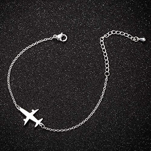 ZPPYMXGZ Co.,ltd Necklace Fashion Woman Necklace Bracelet Woman S Wild Plane Shaped Bracelet Stainless Steel Bracelet