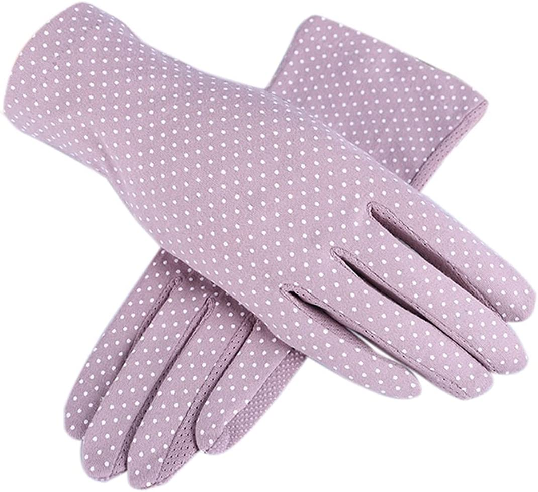 CHHNGPON Ladies Gloves Fashion Summer Drive Women Sun Protection Wrist Gloves & Mittens Dot Elastic Lady Girl Women's Gloves Breathable Mittens (Color : White)