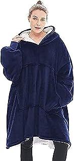 Manta Tipo Sudadera con Capucha, Invierno Cálido Suave Forro Polar Sherpa de Gran tamaño Manta de TV Camisón Pijamas para Hombre Mujer (Color : Blue)