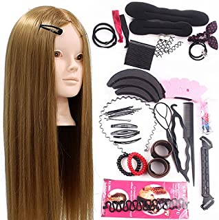 Neverland Training Head 24inch 50% Real Human Hair Cosmetology Hairdressing Mannequin Manikin Doll With Makeup Function + Braid Set + Free Clamp