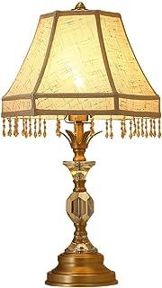 L.BAN Américain rétro Cristal Lampe de Bureau Perles à la Main Tissu frangé hôtel Chambre Lampe de Table Lampe de Chevet C...