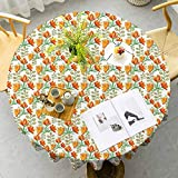VICWOWONE Floral Elegant Round Table Cloth Charming Blossom Garden Field Spring Branches Watercolor Artwork for Friends Vermilion Yellow Forest Green Diameter 63 Inch
