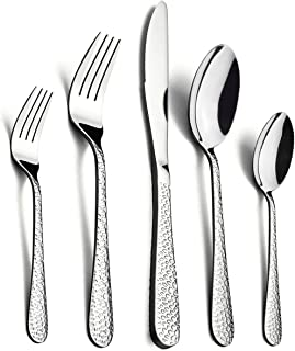 40-Piece Silverware Set, HaWare Hammered Stainless Steel Flatware Cutlery Set for Home/Hotel/Restaurant, Service for 8, Mirror Polished, Classic Design, Dishwasher Safe