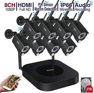 Kit de cámara de vigilancia Full HD para Exteriores con 8 Sistemas de cámaras de Seguridad inalámbricas Sistemas de Alarma para domótica con Unidad de Disco Duro de detección de Movimiento de 2 TB