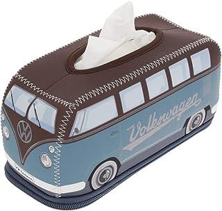 BRISA VW Collection - Volkswagen Samba Bus T1 Camper Van Retro/Vintage Neoprene Cosmetic Tissue Dispenser, Facial Tissue Dispenser Box, Paper Towel Holder (Petrol/Brown)
