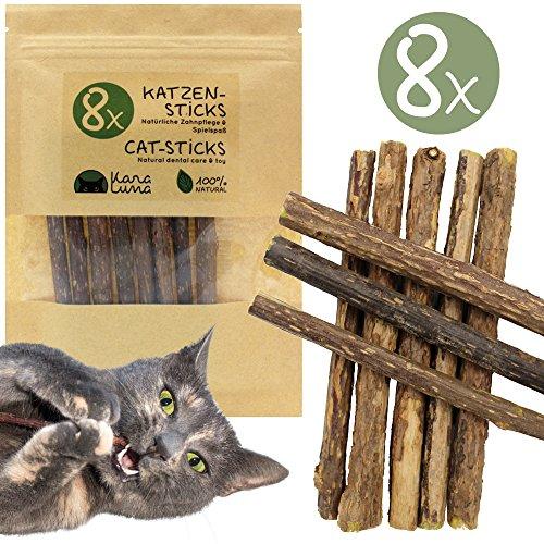KaraLuna 8X Katzensticks I Katzenspielzeug & Zahnpflege I Naturprodukt aus den Zweigen der Matatabi Pflanze
