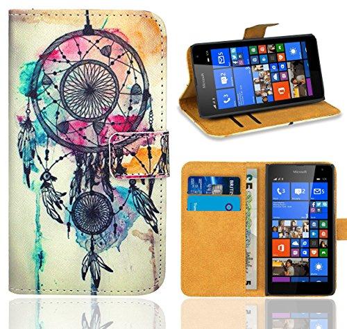 FoneExpert® Microsoft Lumia 535 Handy Tasche, Wallet Hülle Flip Cover Hüllen Etui Ledertasche Lederhülle Premium Schutzhülle für Microsoft Lumia 535 (Pattern 9)