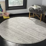 Safavieh Adirondack Collection ADR113C Modern Ombre Non-Shedding Stain Resistant Living Room Bedroom Area Rug, 4' x 4' Round, Light Grey / Grey